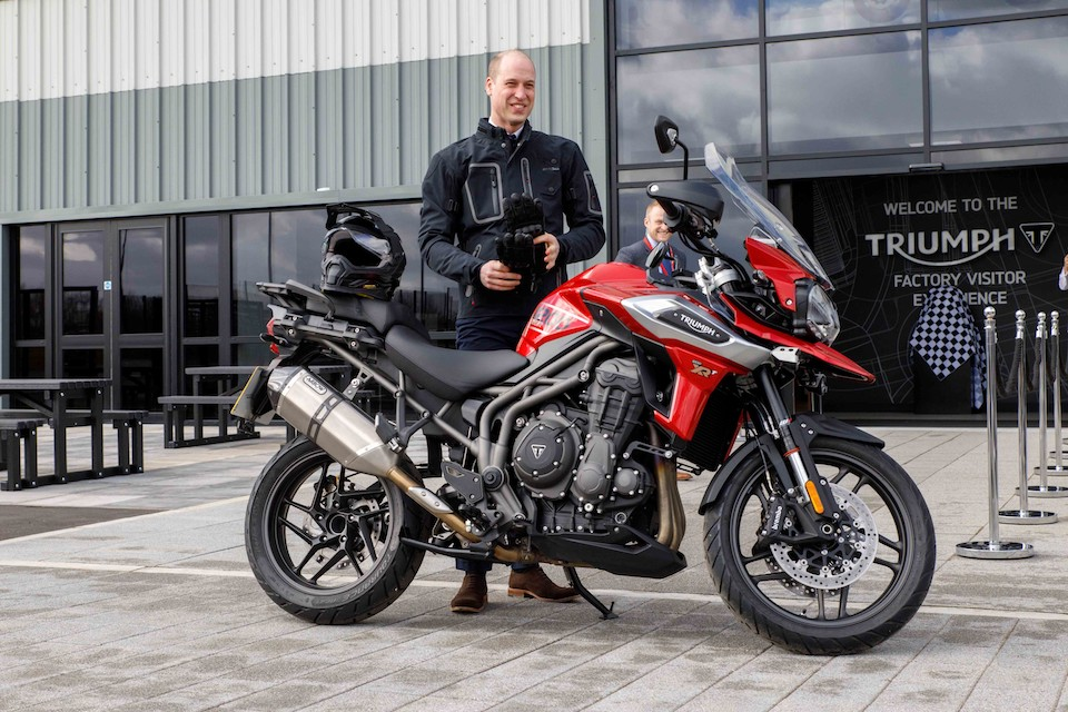 Hrh The Duke Of Cambridge Rides In To Visit Triumph Motorcycles